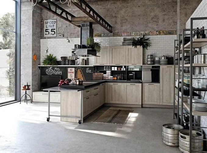 Contemporary Industrial Kitchen with Concrete Wall
