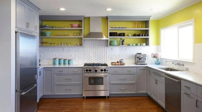 Lively Gray and Yellow Kitchen