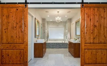 8 Rustic Bathroom Designs with Sliding Barn Doors
