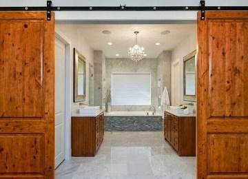 8 Rustic Bathroom Designs with Sliding Barn Doors