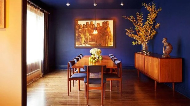 Ultra Marine  Blue Dining Room