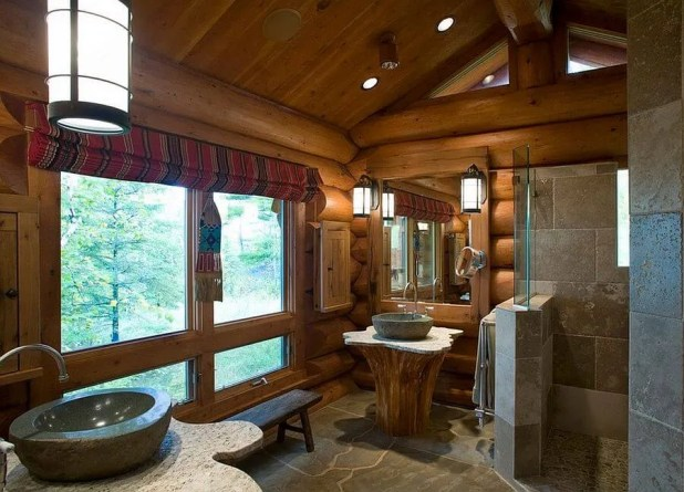 Wood Paneled Rustic Bathroom