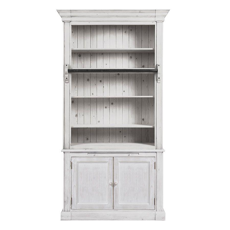 bibliotheque 2 portes en epicea massif nuage de blanc natural
