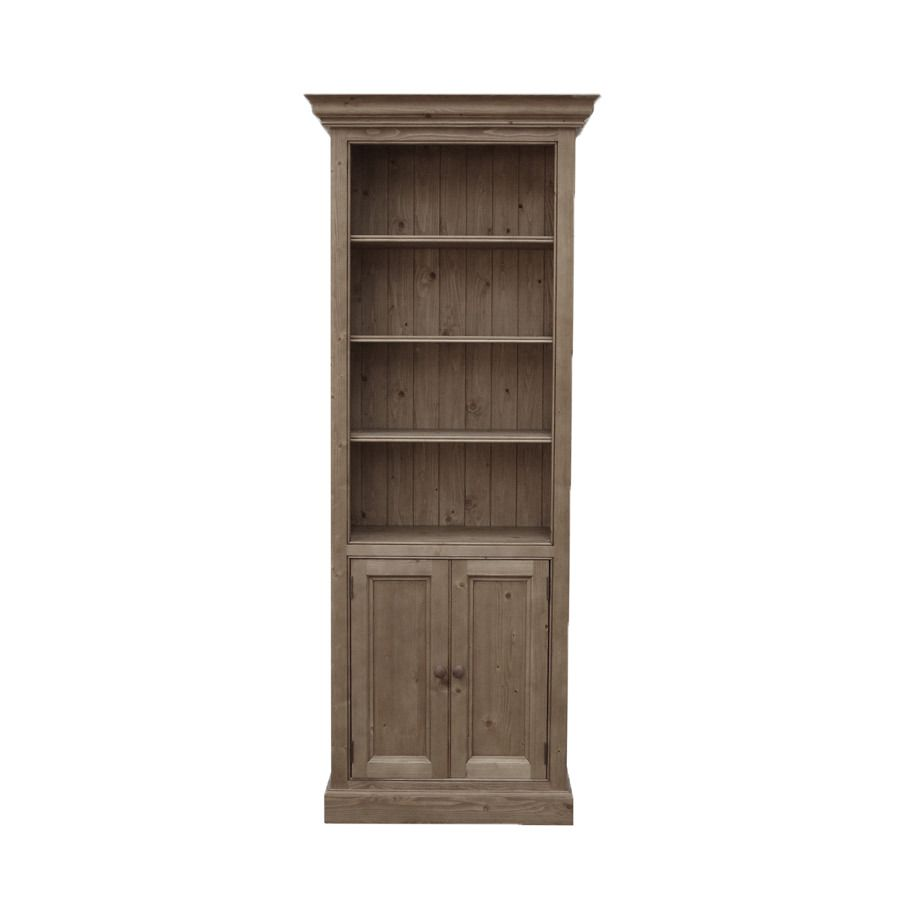 bibliotheque modulable ouverte avec portes basses en epicea brun fume grise natural