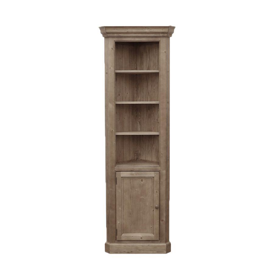 bibliotheque d angle ouverte avec porte basse en epicea brun fume grise natural