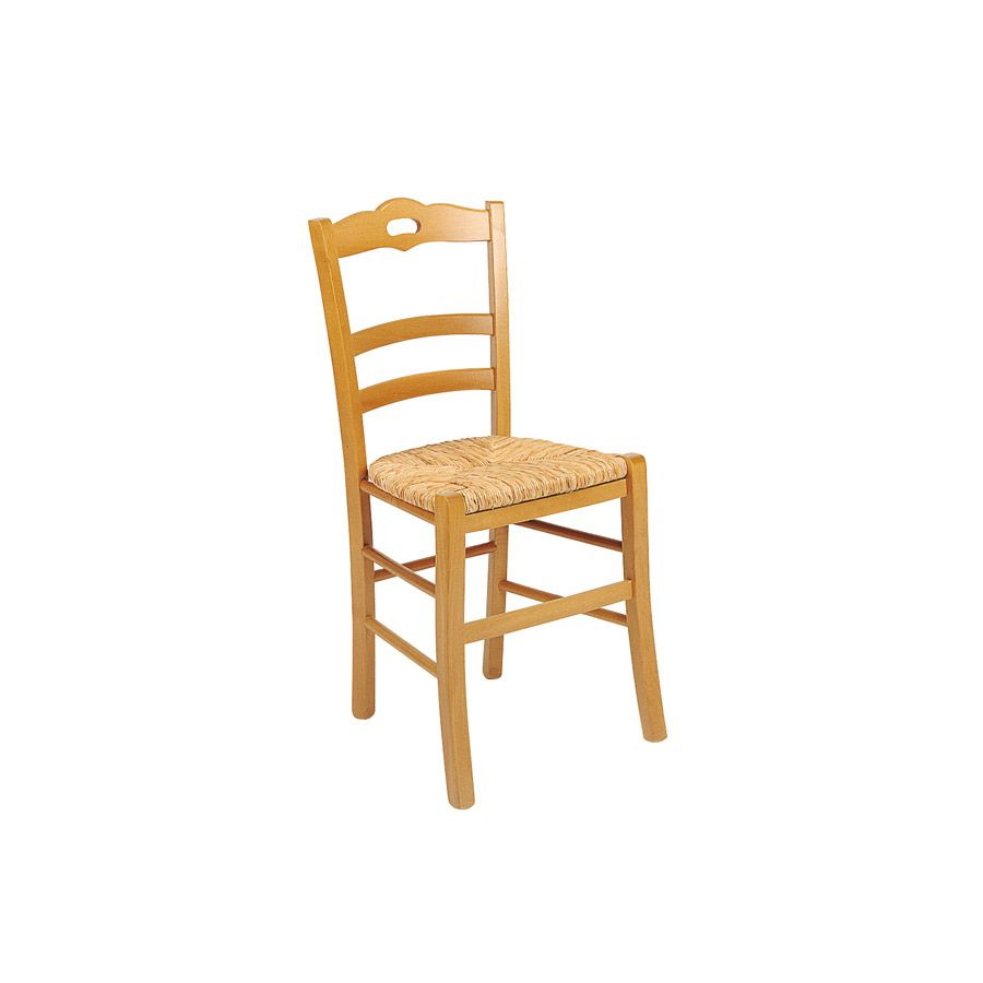 chaise paillee en hetre massif natural