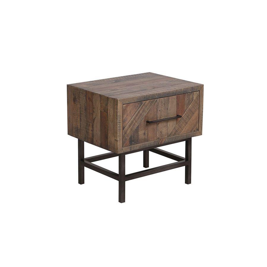 table de chevet industrielle en bois recycle naturel grise empreintes