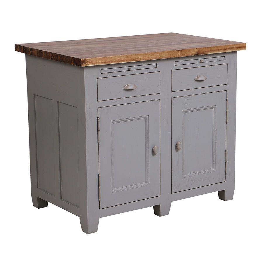 buffet bas 2 portes 2 tiroirs en pin gris perle vieilli brocante