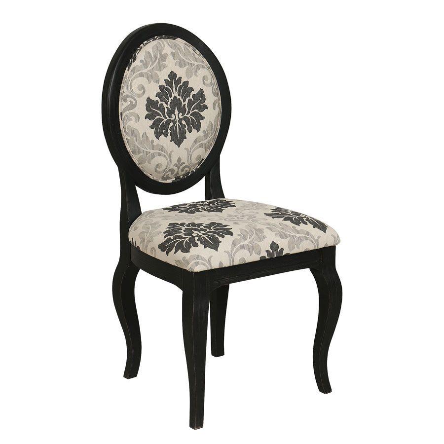 chaise medaillon en bois noir et tissu arabesque hortense