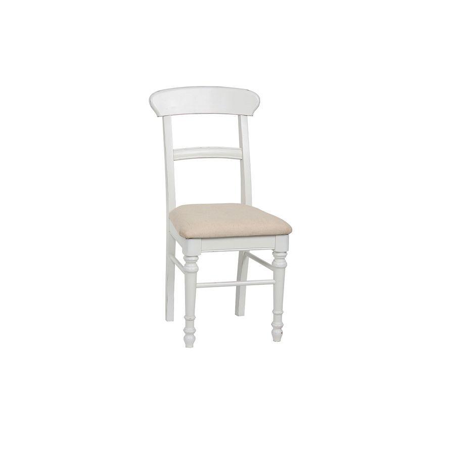 chaise en bois blanc et tissu harmonie