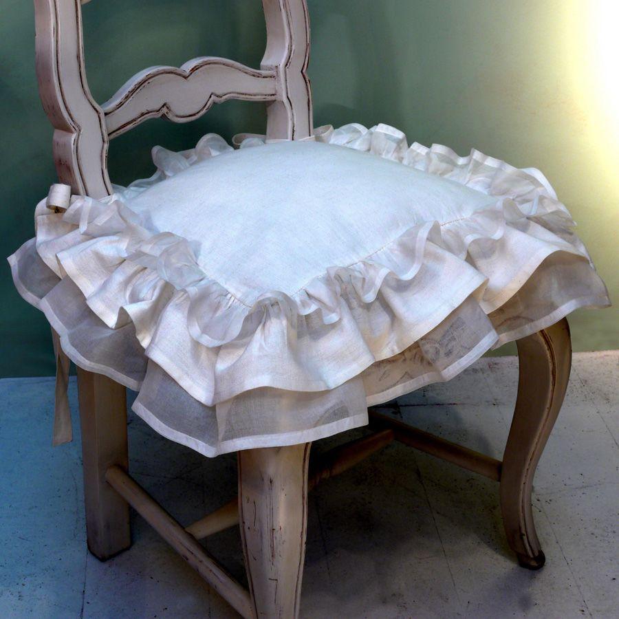 Galettes de chaises en coton et lin 38x38 lot de 2  Blanc  Interiors