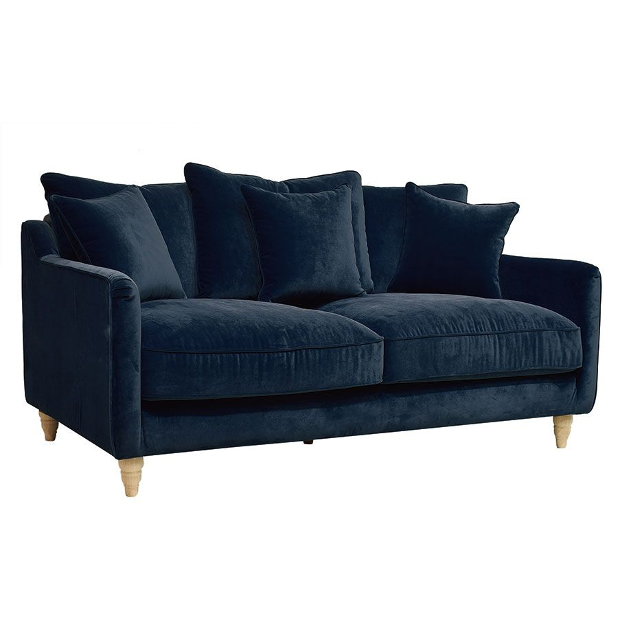 canape 3 places en velours bleu paon rivoli