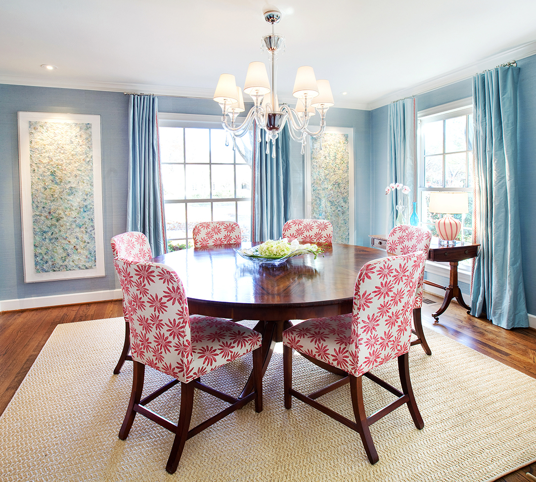 Muted Blue and Floral Red  Interiors By Color