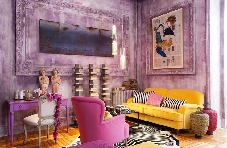 Yellow Pink and Mauve Living Room  Interiors By Color