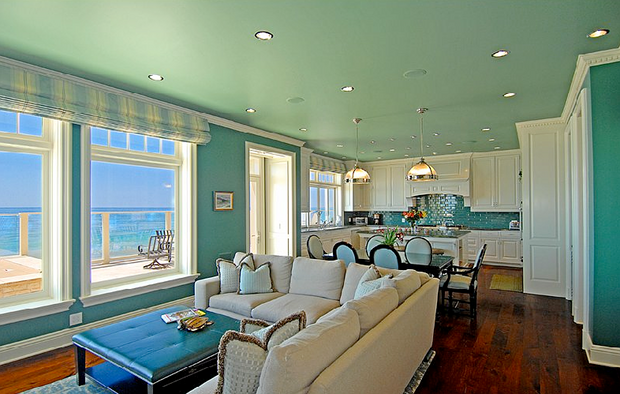 gray kitchen cabinets rugs washable a turquoise in malibu - interiors by color