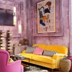 Pink Tufted Sofa For Sale Nicolo Leather Reclining Sectional 5 Piece Power Recliner Yellow, And Mauve Living Room - Interiors By Color