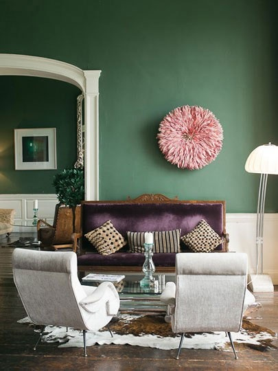 Green Pink and Purple Living Room  Interiors By Color