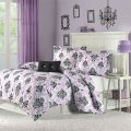 Purple and black damask bedding interiors by color