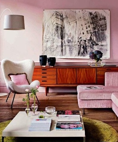 retro living room painting ideas for with black furniture in pastel pink interiors by color