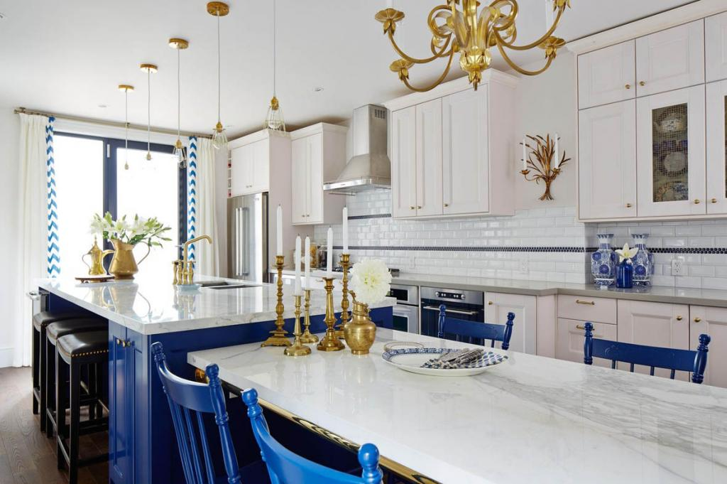 A Regal Kitchen in Royal Blue  Gold  Interiors By Color