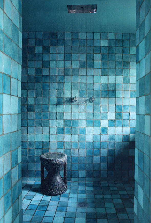 Rustic Tiled Turquoise Bathroom Interiors By Color