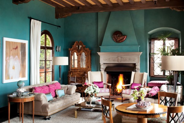 pink and aqua living room Spanish-Moorish Living Room - Interiors By Color