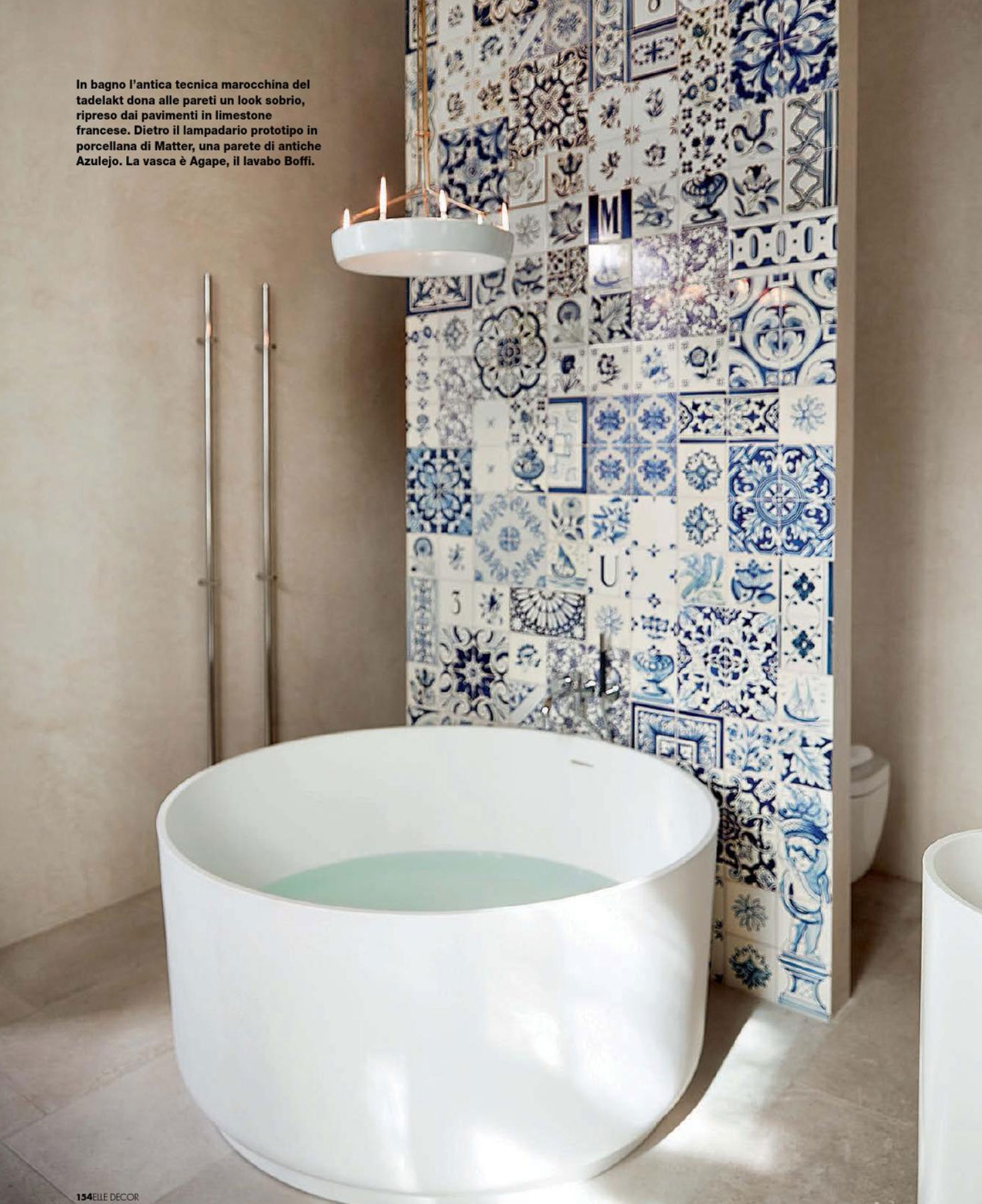 Modern Tub and Antique Tiles  Interiors By Color