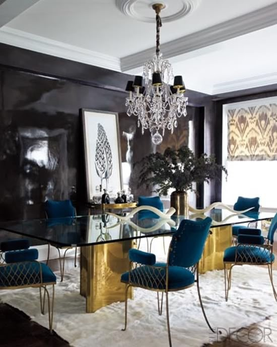 Gold Black And Teal Interiors By Color