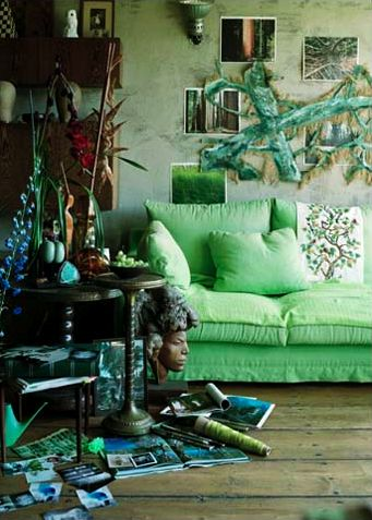 Green And Boho Interiors By Color