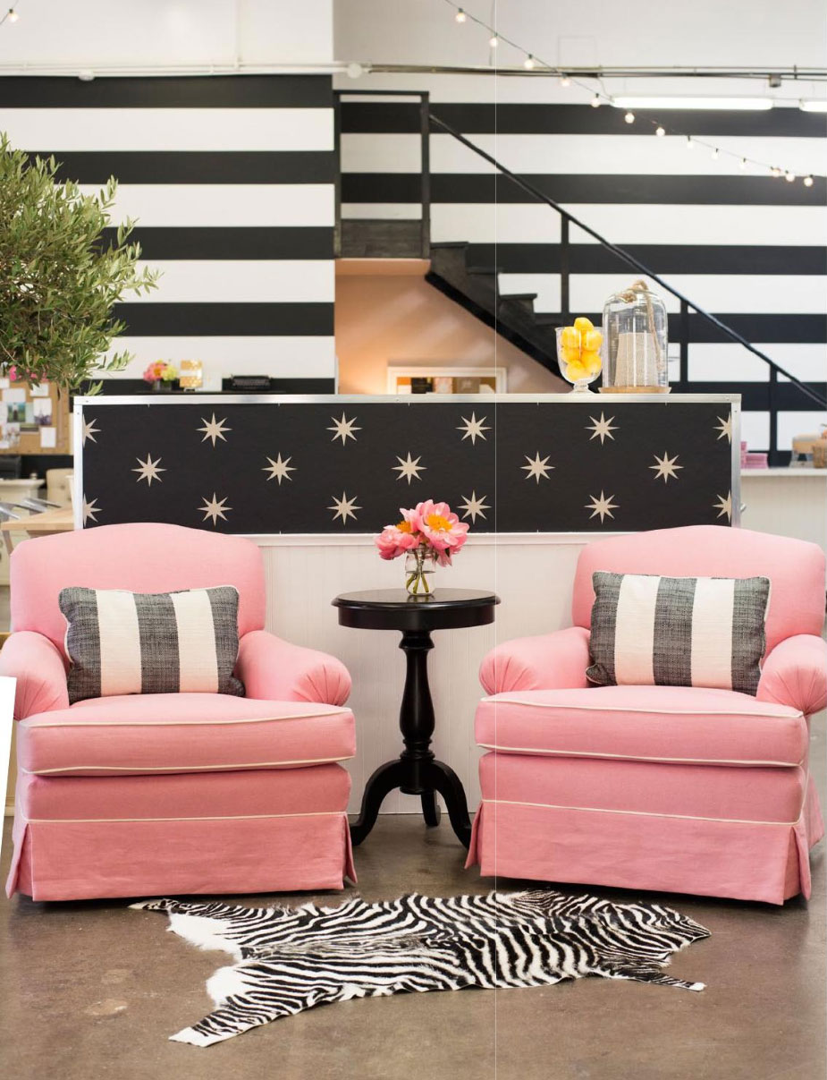 Pastel Pink and Back and White Patterns  Interiors By Color
