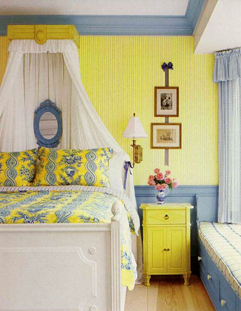 French Bedroom In Yellow And Blue Interiors By Color