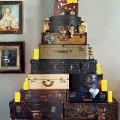 Green Kitchen Cabinets Copper Countertops Christmas Tree Out Of Vintage Suitcases - Interiors By Color