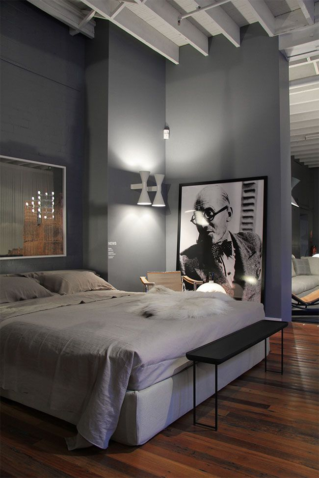 Neutral Grey Masculine Bedroom  Interiors By Color