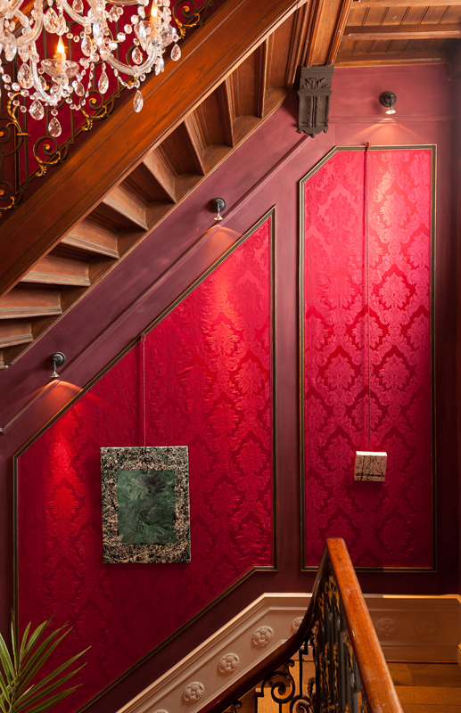 Red Damask Wood and Chandeliers  Interiors By Color