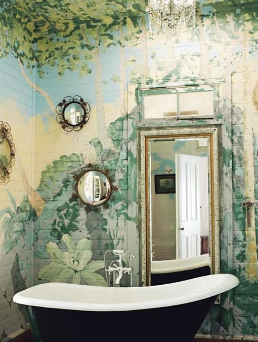 Painted Garden Mural Bathroom Interiors By Color