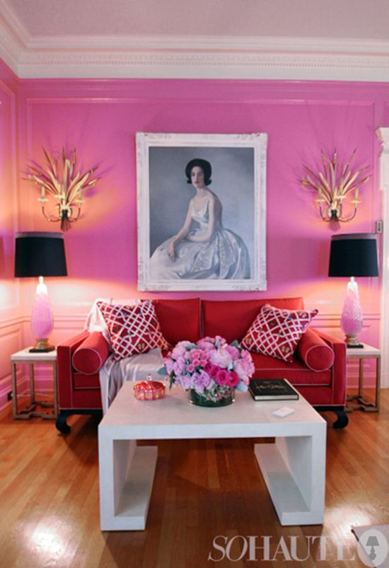 Contemporary Pink and Red Contrast  Interiors By Color