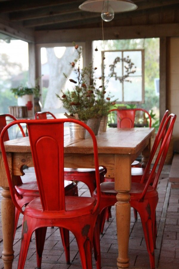 Red Painted Metal Chairs  Interiors By Color