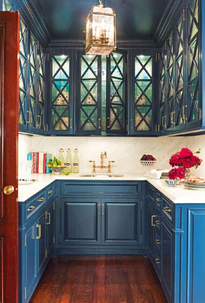 kitchen design ideas 2014 for small galley kitchens teal blue butler's pantry - interiors by color