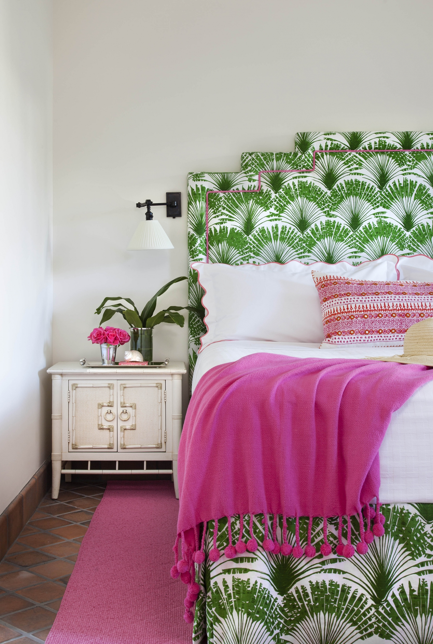 Bold Green and Pink Living and Bedroom  Interiors By Color