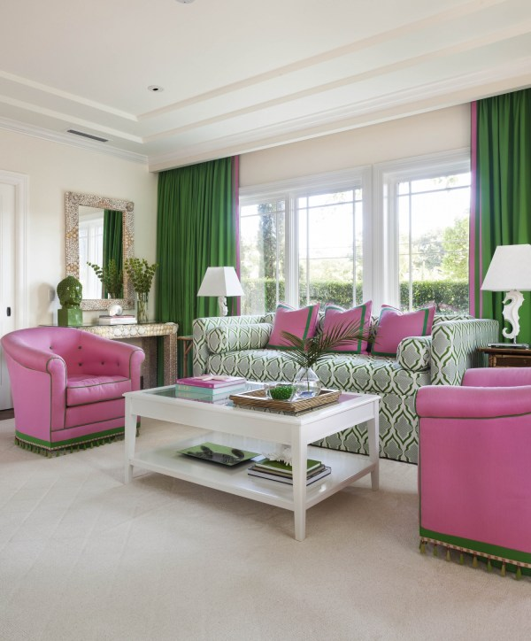 Bold Green And Pink Living Bedroom - Interiors Color