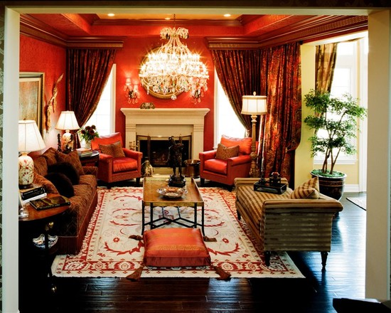 Luxurious Red Fabrics Living Space  Interiors By Color