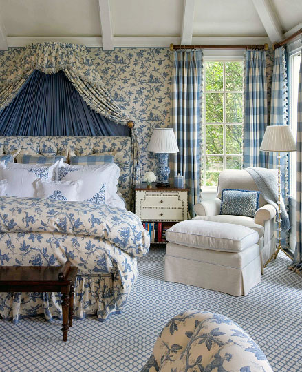 Blue White French Bedroom Interiors By Color