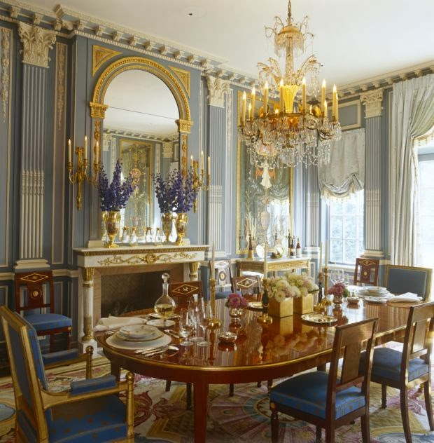 NeoClassical Dining in Blue and Gold  Interiors By Color