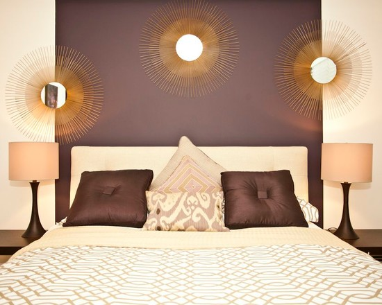 Purple Gold and Cream Bedroom  Interiors By Color