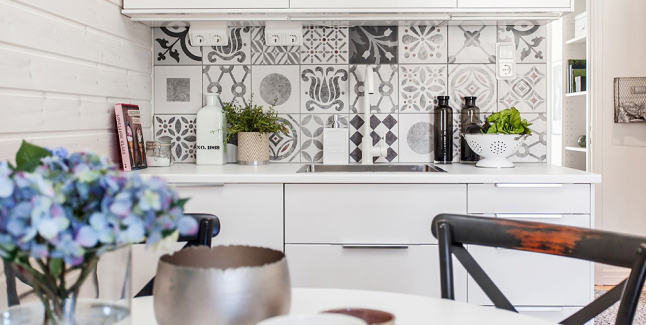 Black And White Pattern Cement Tiles Interiors By Color