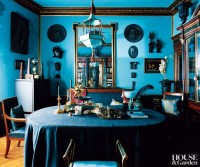 Traditional Home Library in Turquoise - Interiors By Color