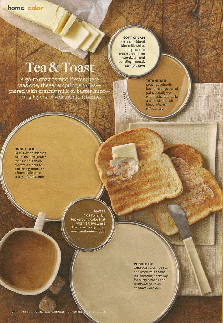 BHG Tea  Toast Color Palette  Interiors By Color