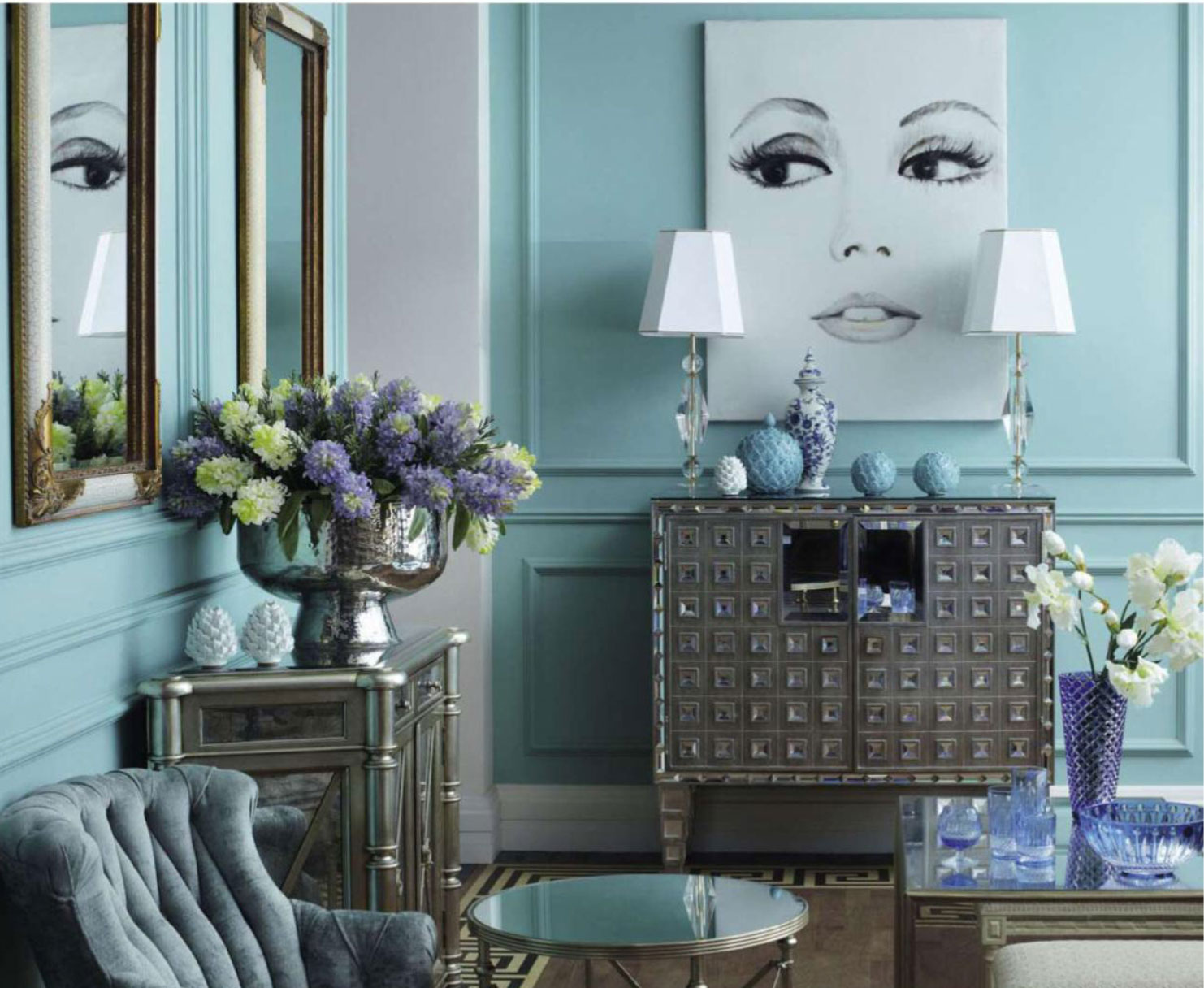 country living rooms with gray walls leather sofas for room pastel blue - interiors by color