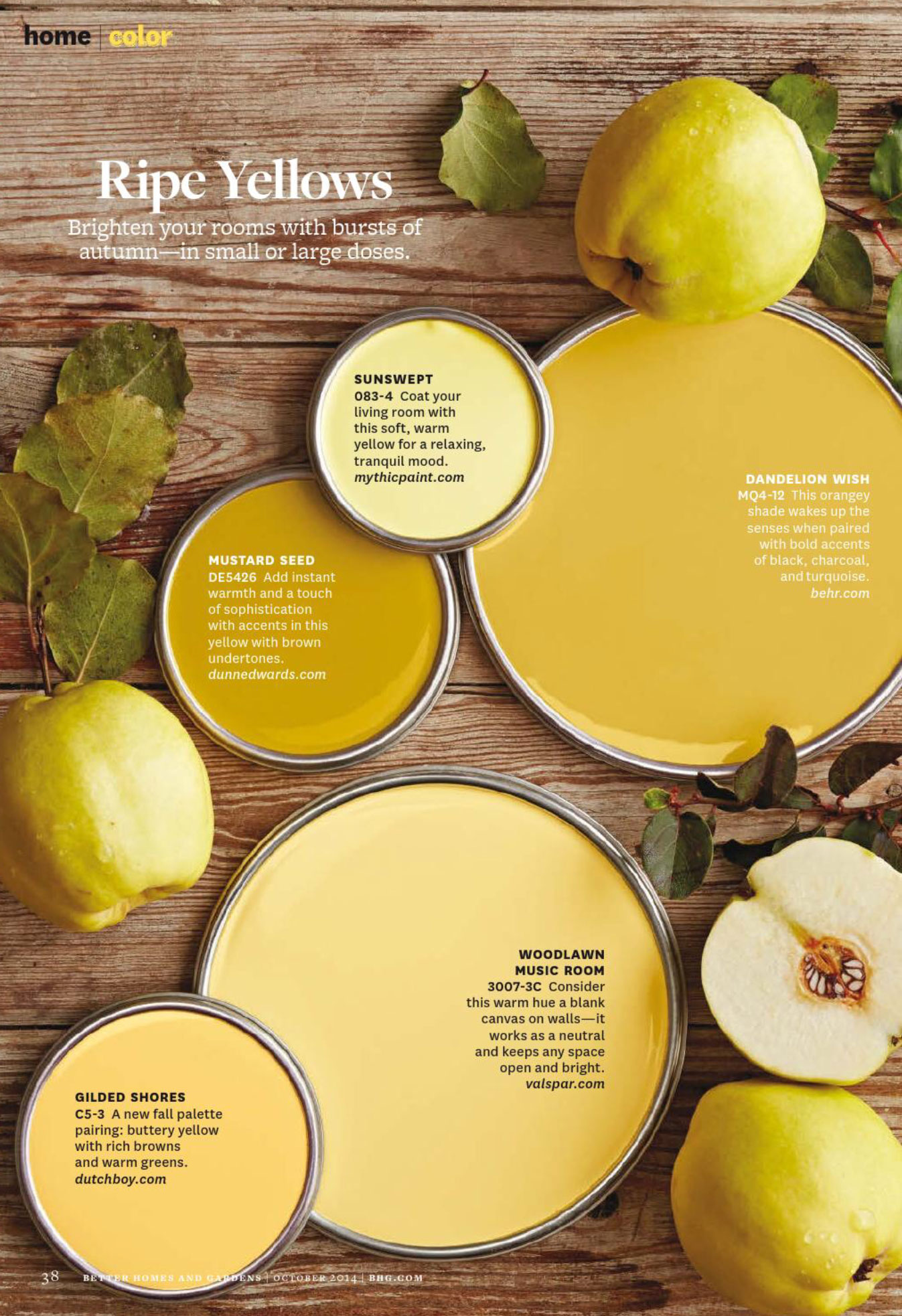 Ripe Yellows Paint Palette  Interiors By Color