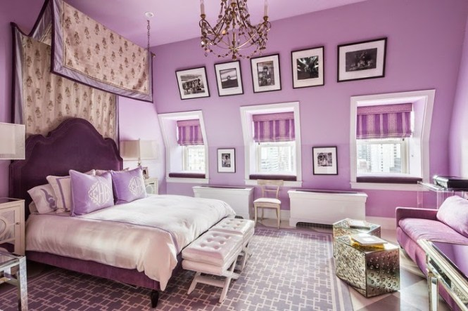 Soft And Hard Lavender Traditional Bedroom